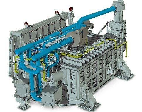 Design Aluminium melting furnace tilting 80 ton regenerative burner
